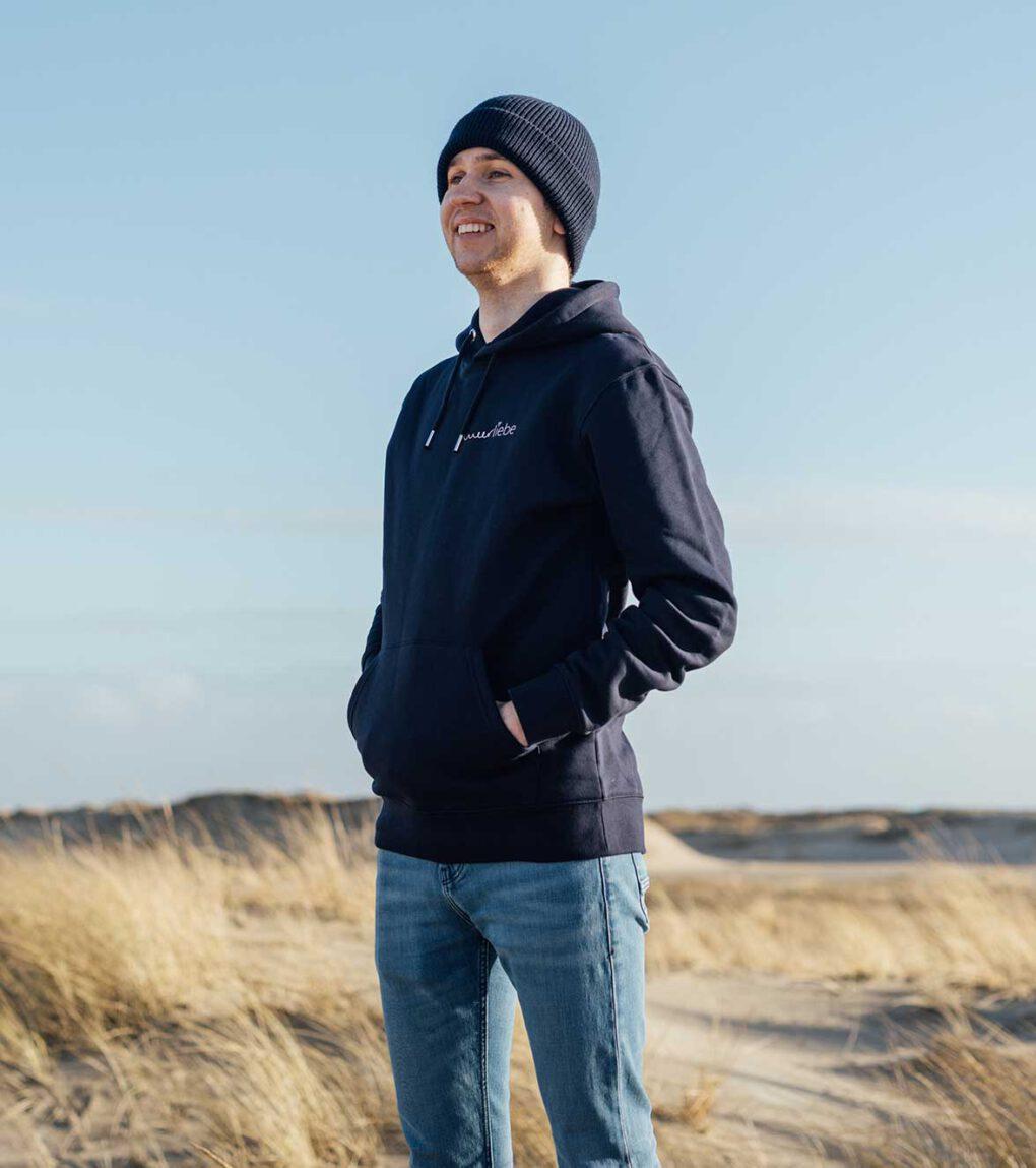 Meerliebe-hoodie-Männer-Navy